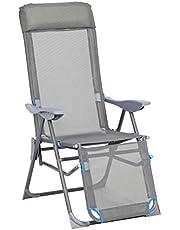 greemotion Lido, relaxstoel, inklapbare ligstoel, tuinstoel met aluminium frame, klapstoel met 5-voudig verstelbare rugleuning, in grijs/blauw
