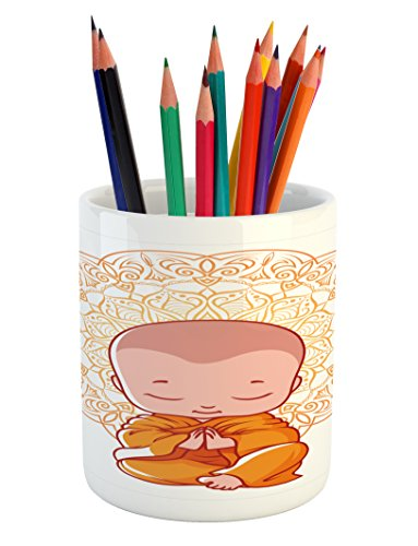 Ambesonne Mandala Pencil Pen Holder, Meditation Theme Cartoon Baby Monk Meditating on the White Background Print, Printed Ceramic Pencil Pen Holder for Desk Office Accessory, White and Orange by Ambesonne