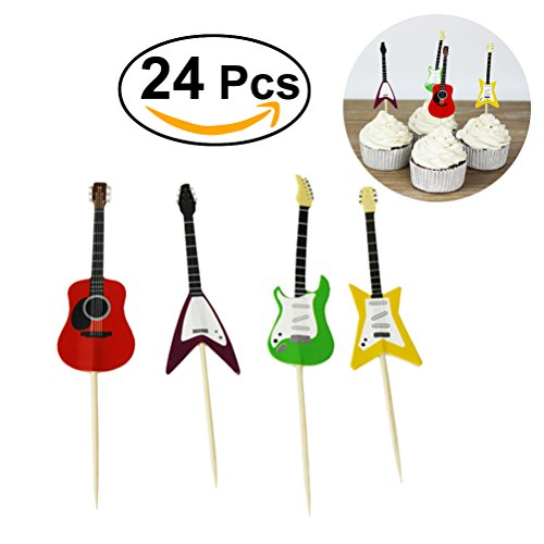 Tinksky Guitar Cupcake Toppers Musical Instrument Shape Cupcake Decorating Tools for Party Supplies 24pcs