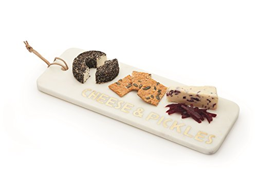 Artes脿 Rectangular Marble Cheese Board/Serving Platter with Decorative 'CHEESE & PICKLES' Lettering, 40 x 15 cm (15.5