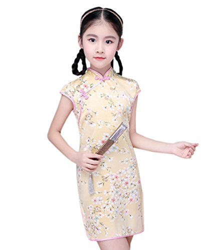 Cheongsam Chinoise Robe Jaune Fille Traditionnel 2 Eté Qipao Chic Couleurs Enfant Floral Acvip CUxAq1w
