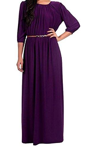 Beach 4 Women Plus Coolred Neck Maxi Dress Scoop Purple Sleeve 3 Size Sexy Xv46qSa6n