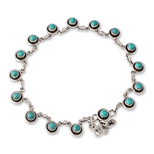 NOVICA Dyed Calcite .925 Sterling Silver Charm Link Anklet, 10.5 India Trends