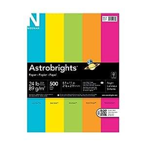 """Astrobrights Color Paper, 8.5"""" x 11"""", 24 lb / 89 gsm, """"Brights"""" 5-Color Assortment, 500 Sheets"""