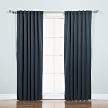 """Best Home Fashion Thermal Insulated Blackout Curtains - Back Tab/ Rod Pocket - Navy - 52""""W x 84""""L - (Set of 2 Panels)"""