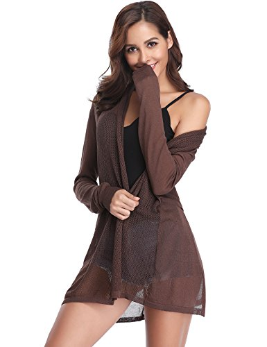 Abollria Long Open Front Lightweight Breathable Cardigans Sweaters(Coffee,M)