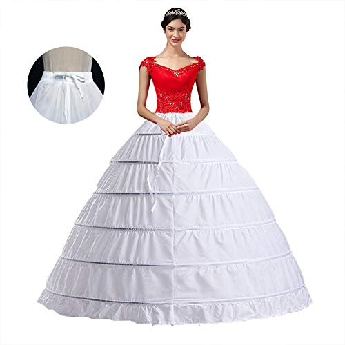 YULUOSHA Women Crinoline Hoop Petticoats Skirt Slips Floor Length Underskirt for Ball Gown Wedding (Full Ball Skirt)