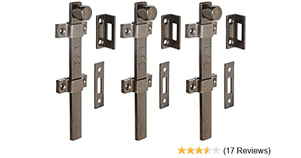 8 Bolt Length 2 Guide Bronze Satin Oxidized Oil Rubbed Finish Rockwood 630-8.10B Solid Brass Surface Bolt with Universal And Mortise Strike