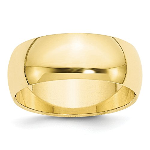 10k Yellow Gold 8mm Half Round Band Ring Size 6.5 ()