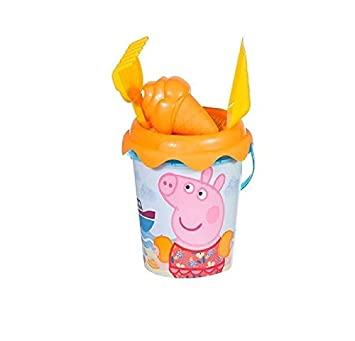 Peppa Pig - Cubo de Playa con Pala, rastrillo y moldes, 18 cm (Smoby Toys)
