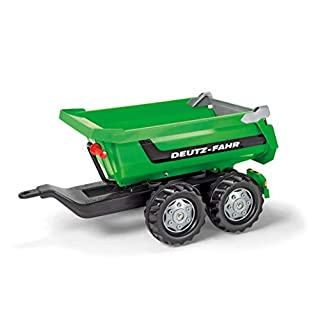 ROLLY TOYS, Half-Pipe Deutz-Fahr, Tipping Trailer with a Tilting Tailgate, Two-axle Trailer, from 3 Years, Colour Green