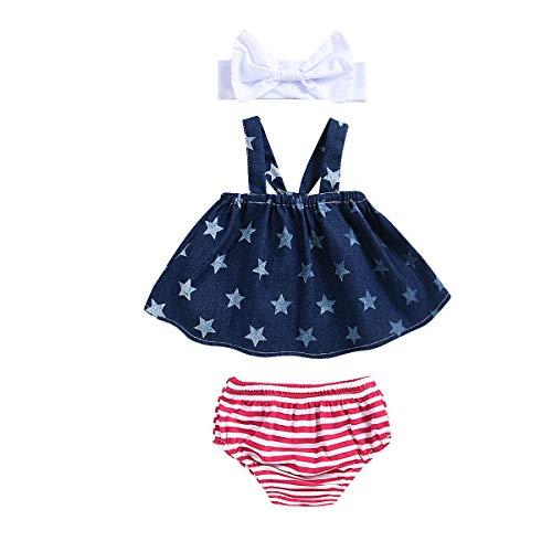 Baby Girl Outfits, Toddler Infant Baby Girl American Flag Star Print Denim Top Stripe Short Pant Bowknot Headband 3PCS