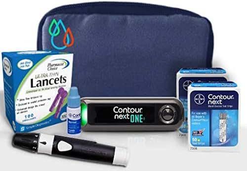 Raindrop USA - Contour Next ONE Complete Diabetes Blood Glucose Testing Kit: Meter, Test Strips, Lancets, Lancing Device, Control Solution, Carry Case (100 Test Strips, 110 Lancets)
