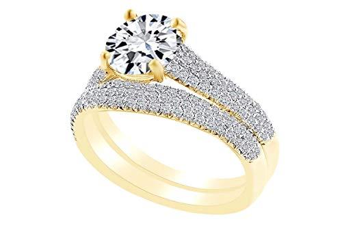 - 0.59 Carat Round Shape White Natural Diamond Semi Mount Wedding Ring Set 18K Solid Yellow Gold Ring Size-8