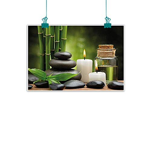 funkky Spa Decor Art Oil Paintings Hot Massage Rocks Combined with Candles and Scents Landscape of Bamboo Canvas Prints for Home Decorations 20