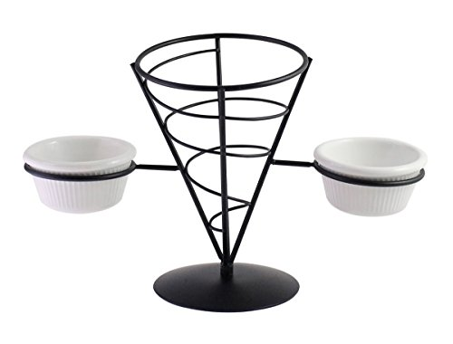 User-Friendly Metal Frame French Fry Cone Holder / Basket Stand With 2 Condiment / Dip-In Sauce Cup Holders, Black