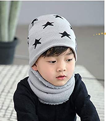 YJZQ Girls Boys Star Knitted Beanie Hat and Circle Scarf Set Warmest Winter Hat Scarf Set Neck Warmer Outdoor Ski Snowboard Cycling Thermal Insulated Hat with Fleece Lining
