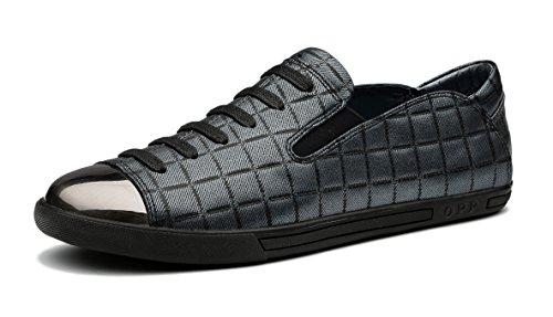 OPP Hombres Sneaker Zapatos de Piel Diseño de marca Gris