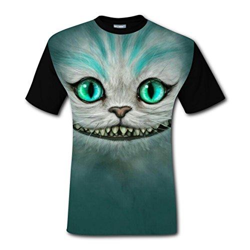 Cheshire Cat Costume Ideas (Elves Cat Men's Tee Everyday Crew Neck Short-Sleeve Boys T-shirt M)