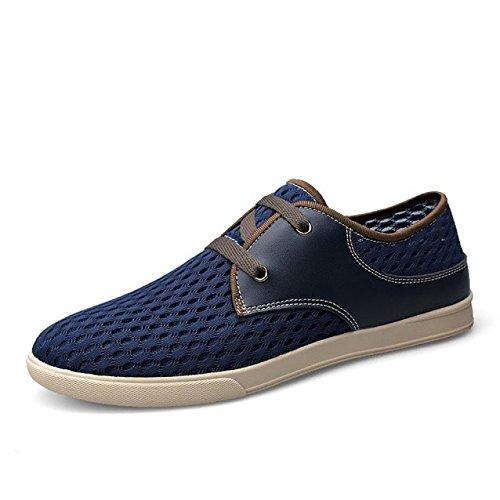 da marchio Bebete5858 slip vera on moda Blu estive estate uomo casual morbido pelle in traspirante mesh confortevole scarpe uomo scarpe Lace Up scarpe rgrIqwO