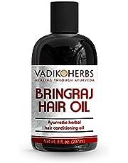 Bringraj (Bhringraj) Hair Oil (8 oz) by Vadik Herbs   Herbal hair growth oil and hair conditioning oil   Great for hair loss, balding, thinning of hair, for beard growth, herbal scalp treatment
