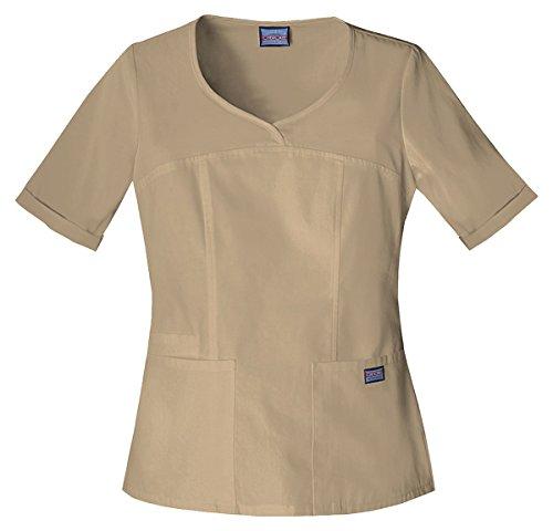 Cherokee Womens V-Neck Embroidered Top, Dark Khaki, Medium (Scrubs New Natural Uniforms Top)