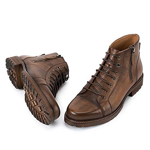 Ruanyi de Cuero Libre para Botines al Aire Size Beige Motocicleta la Genuino Botas Ocasionales Zapatos de Hombres EU Brown Botas Manera la Casuales 42 de Color r77nFtUq