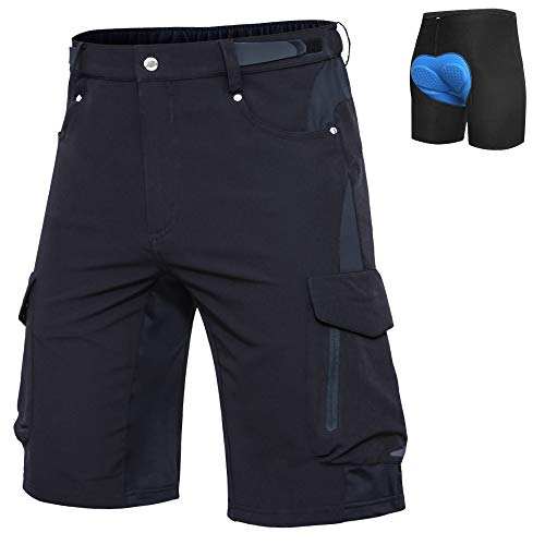"Ally Mens Mountain Bike Shorts MTB Shorts Bicycle Baggy Cycling Bike Shorts Cycle Wear Relaxed Loose-fit (Black, L (Waist: 32-34"" Hip: 36.5-38.5""))"