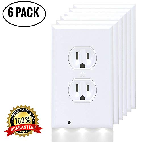 Mribo 6 Pack Outlet Cover, No Batteries and Wires-Easy Installation Outlet Wall Plate with 3 Leds Energy Efficient Light for Your Home/Bathroom/Bedroom/Garage/Hallway/Kitchen