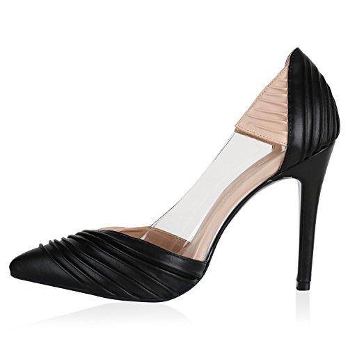 Stiefelparadies Spitze Damen Pumps Samt High Heels Stilettos Party Schuhe Flandell Schwarz Nude