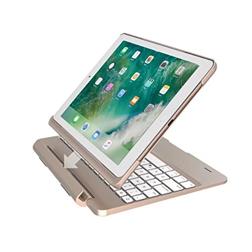 FuriGer iPad Pro 9.7 Keyboard Case, Bluetooth 7 Colors Adjustment Backlit Wireless Keyboard Ultrathin, Aluminium, Lightweight and portable Cover with Auto Wake/Sleep - Gold by FuriGer