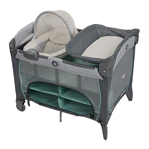 Graco Pack 'n Play Newborn Napper DLX Playard | Includes Newborn Napper, Full-Size Infant Bassinet, and Diaper Changer, Manor