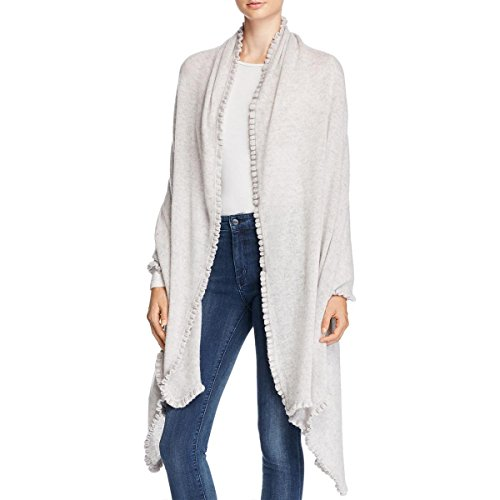 Private Label Womens Cashmere Ruffled Trim Wrap Gray O/S by Private Label