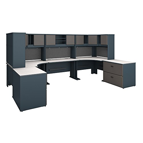 Bush Business Furniture Series A 2 Person Workstation with Corner Desks, Hutches and Storage in Slate and White Spectrum ()