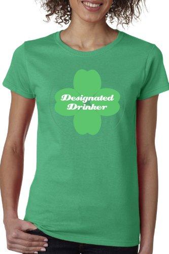 [Designated Drinker Ladies' T-shirt / Funny Drinking / St. Pat's Alcohol Booze Tee-Green-XXX-Large] (Designated Drinker)