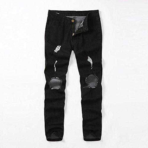 Jeans Fit Skinny Pantaloni Kword Uomo Strappati Slim Nero Elasticizzati Sfilacciati Stretti Da tZ6Oxqw