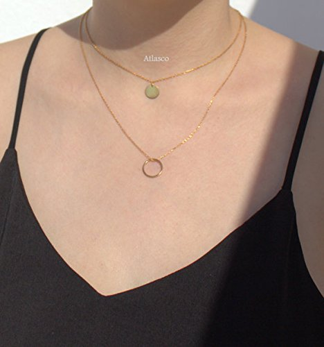 layering-gold-filled-eternity-necklace-gold-filled-dics-necklace-rose-and-silver-infinity-necklace