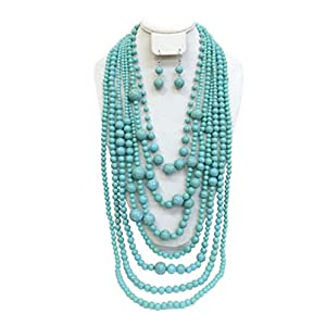S.Uniklook Collection Statement Turquoise Simulated Stone Beaded Layered Strands Long Beads Necklace Earrings Set Gift Bijoux