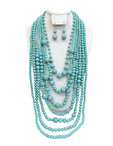 (S.Uniklook Collection Statement Turquoise Simulated Stone Beaded Layered Strands Long Beads Necklace Earrings Set Gift Bijoux)