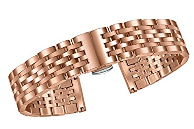 Beautifully Colored Watch Bands Rose Gold Plated Solid Stainless Steel Straight and Curved Connections