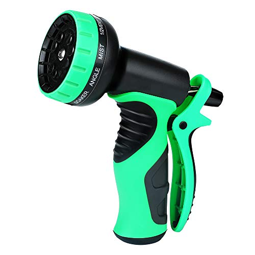 Powsure Garden Hose Nozzle – Heavy Duty Metal Spray Gun with 10 Adjustable Patterns, Brass Nozzle, Rotaing Water Nozzle- High Pressure Sprayer for Watering,Plants,Car Wash and Pets Shower