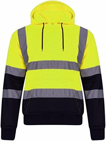 felpa da uomo con cappuccio ad alta visibilit/à riflettente felpa di sicurezza abbigliamento da lavoro caldo Dihope a maniche lunghe