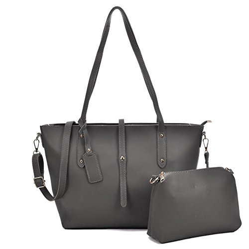 2 Large Bags Women Tote Dark SALLY Suede Set Shoulder YOUNG Ladies Pieces Purses Grey Leather Faux Fashion q70gwE47