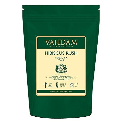 VAHDAM, Hibiscus Rush Herbal Tea Loose Leaf (100 Cups) | Hibiscus Tea Leaves & Delicious Fruits | 100% NATURAL TISANE Tea With Hibiscus Flowers | Brew Hot, Iced Tea or Kombucha Tea | 3.53oz (Set of 2)