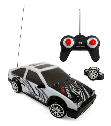 Liberty Imports Super Fast Drift King RC Sports Racing Car Remote Control Drifting Race Car 1:24 + Headlights, Backlights, Side Lights + 2 Sets of Tires (White AE86) from Liberty Imports
