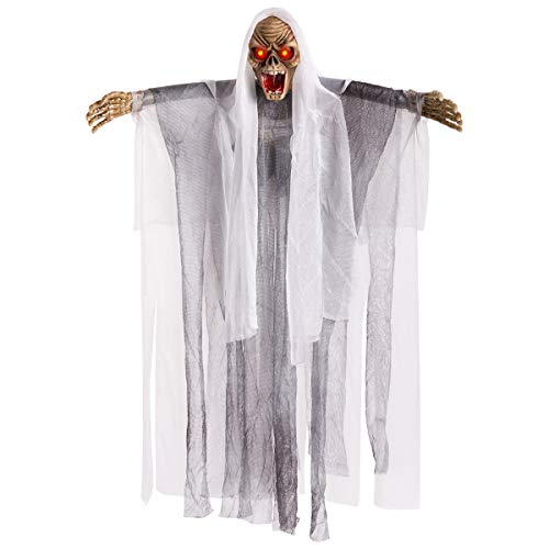 HollyHOME Hanging Halloween Decoration Animated Floating Ghoul Ghost Skeleton Face with Glowing Red Eyes Horrible Scary Light 18inch Gray]()