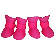 Pet Life Elastic Protective Multi-Usage All-Terrain Rubberized Pet Dog Shoes Boots with Micro Grips, Pink, Large