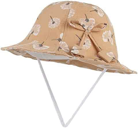f91f49cc Kids Girls Summer Sun Bucket Hat Cute Floral Print Dome Fisherman Hat with  Bow Foldable Soft