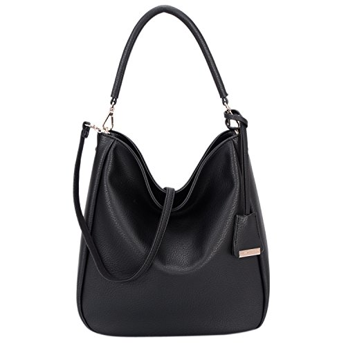 Black Hobo (DAVIDJONES Women's Top Handle Shoulder Hobo Handbags Tote Purse Black)