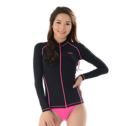 belleap UV Protection Women's Compression Long Sleeve Zip up Sportswear Medium Black Pink stitch